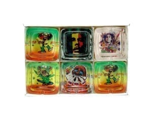 Square Rasta Ashtray 6 piece
