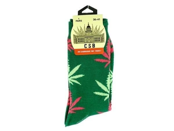 Cannabis Socks Green and Pink 36-41