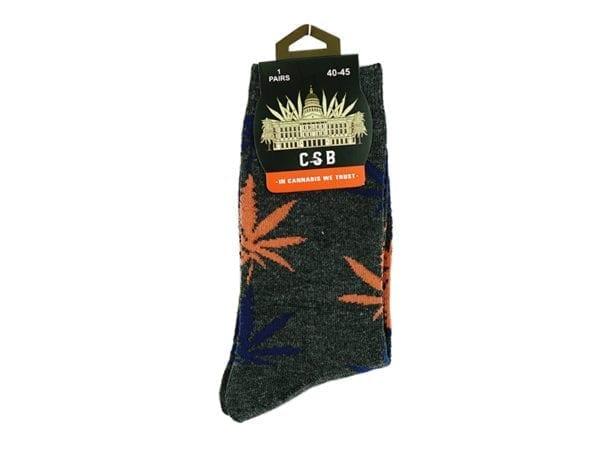 Cannabis Socks Grey and Orange 40-45