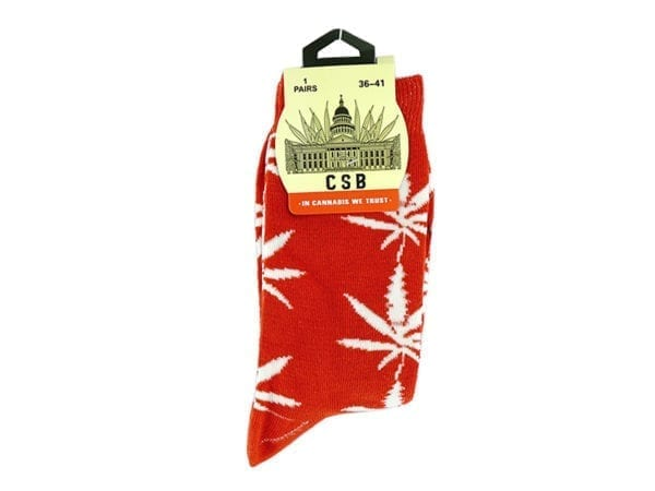 Cannabis Socks Red and White 36-41