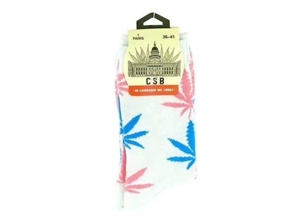 Cannabis Socks White Blue and Pink 36-41
