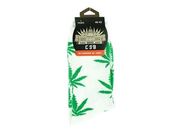 Cannabis Socks White and Green 40-45