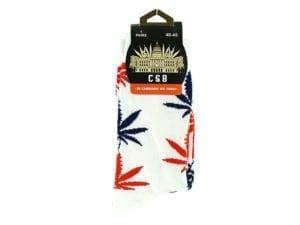 Cannabis Socks White Orange and Blue 40-45