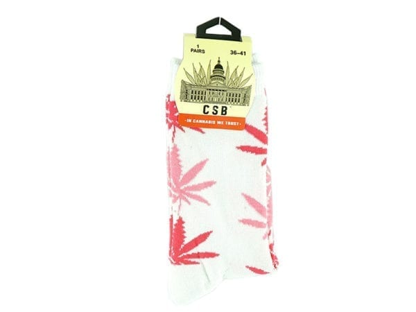 Cannabis Socks White and Pink 36-41