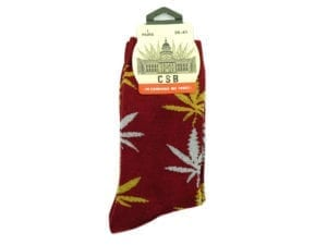 Cannabis Socks Bordeaux and Yellow 36-41