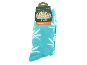 Cannabis Socks Turquoise and White 40-45