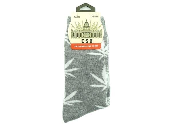 Cannabis Socks Grey and White 36-41
