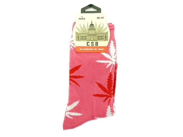 Cannabis Socks Pink Red and White 36-41