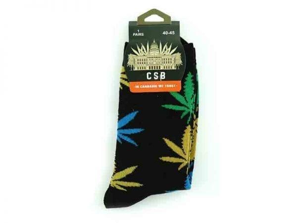 Cannabis Socks Blue Green and Gold 40-45