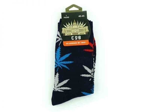 Cannabis Socks Navy Red Blue and Grey 40-45