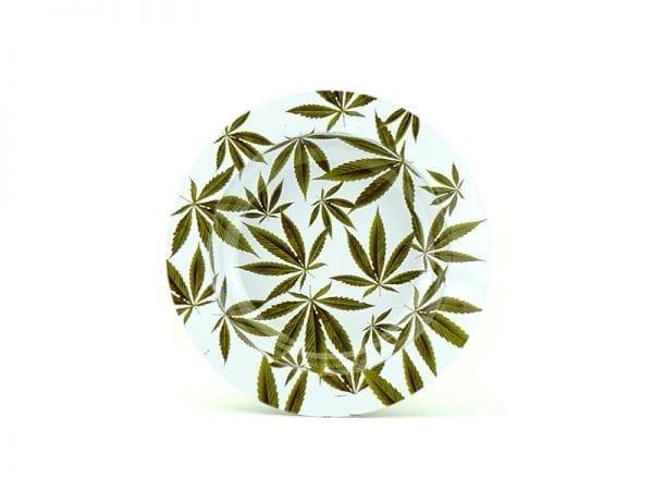Cannabis Leaves Ashtray - White