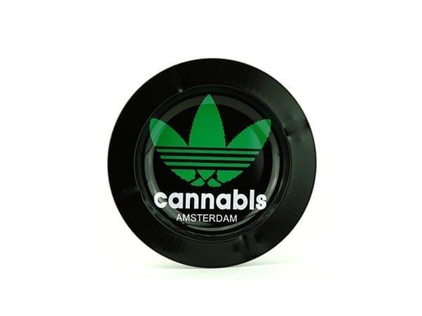 Metal Ashtray Cannabis Black