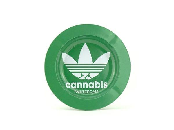 Metal Ashtray Cannabis Green