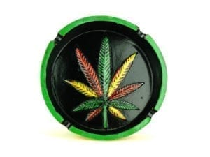 Ashtray Round Large Rasta Leaf