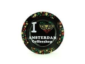 Metal Ashtray I Love Coffeeshop Rasta