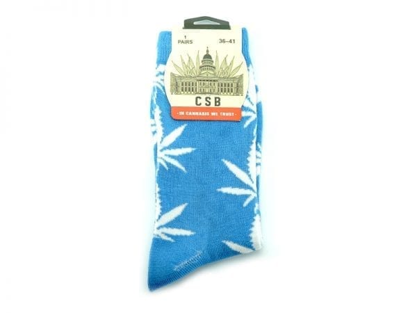 Cannabis Socks Baby Blue and White 36-41