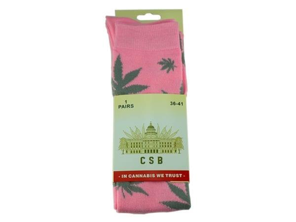 Cannabis Socks Long Pink and Grey 36-41