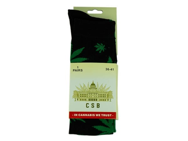 Cannabis Socks Long Black and Green 36-41