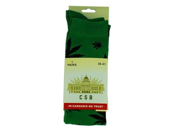 Cannabis Socks Long Green and Black 36-41