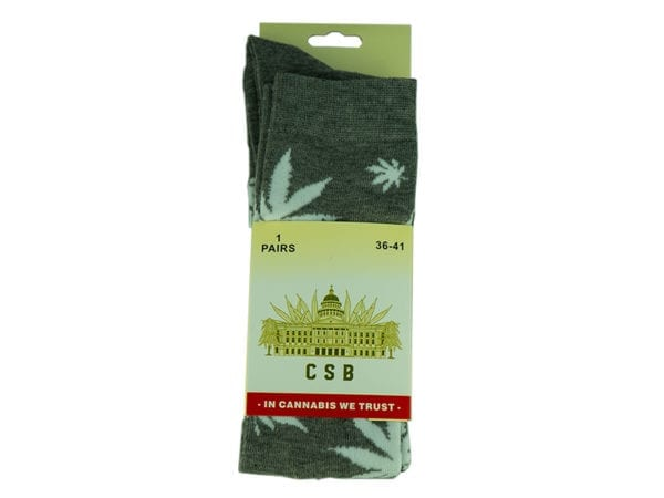 Cannabis Socks Long Grey and White 36-41