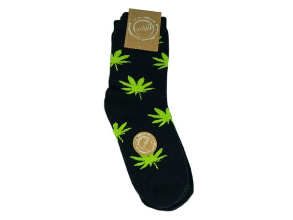Cannabis Socks Lucky 7 Black and Green