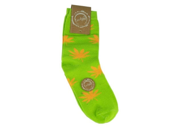 Cannabis Socks Lucky 7 Green and Yellow