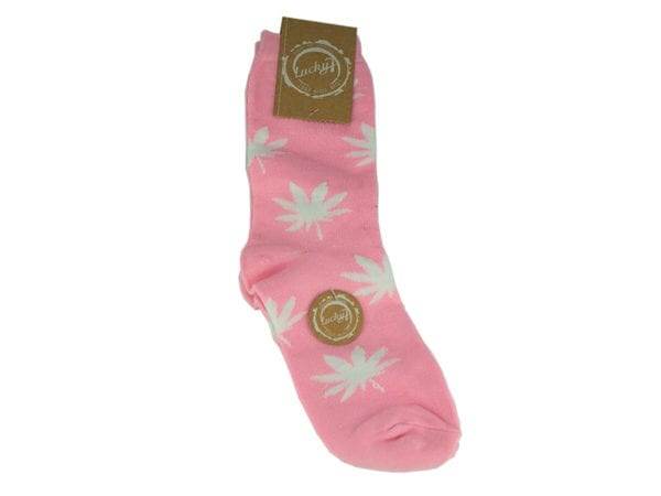 Cannabis Socks Lucky 7 Pink and White