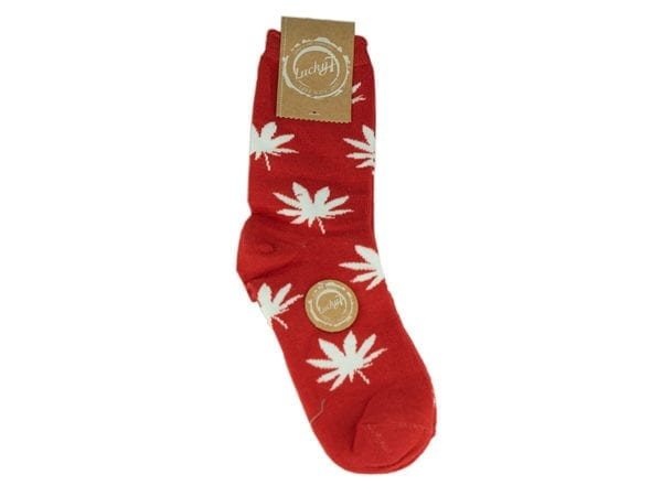Cannabis Socks Lucky 7 Red and White