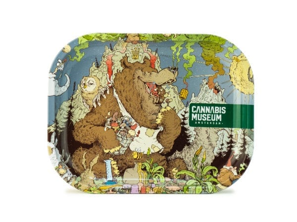 Cannabis Museum Bear Rolling Tray - Small 18cmX14cm