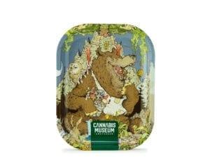 Cannabis Museum Bear Vert Rolling Tray – Small 18cmX14cm