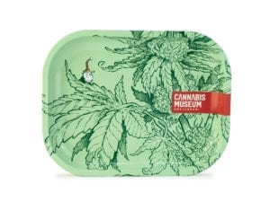 Cannabis Museum Plant Green Rolling Tray - Small 18cmX14cm