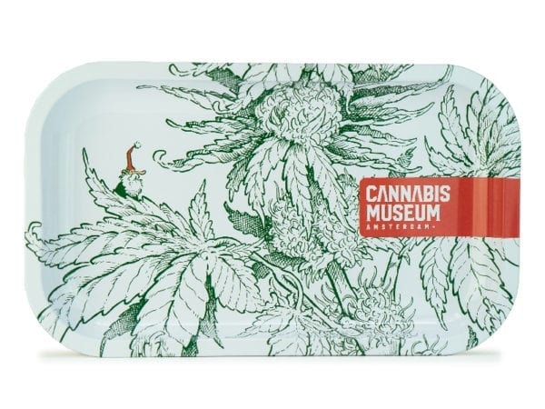 Cannabis Museum Plant White Gnome Rolling Tray - Medium 27cmX16cm