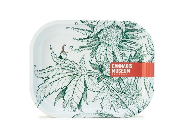 Cannabis Museum Plant White Rolling Tray - Small 18cmX14cm