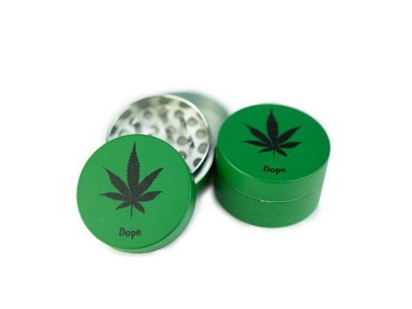 Green 3 Tier 40mm Dope Leaf Grinder - 12 pcs